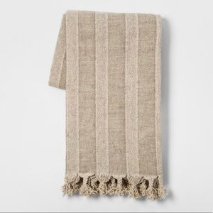 "Threshold Tan Cotton/Linen Throw Blanket 50"" x 60"""